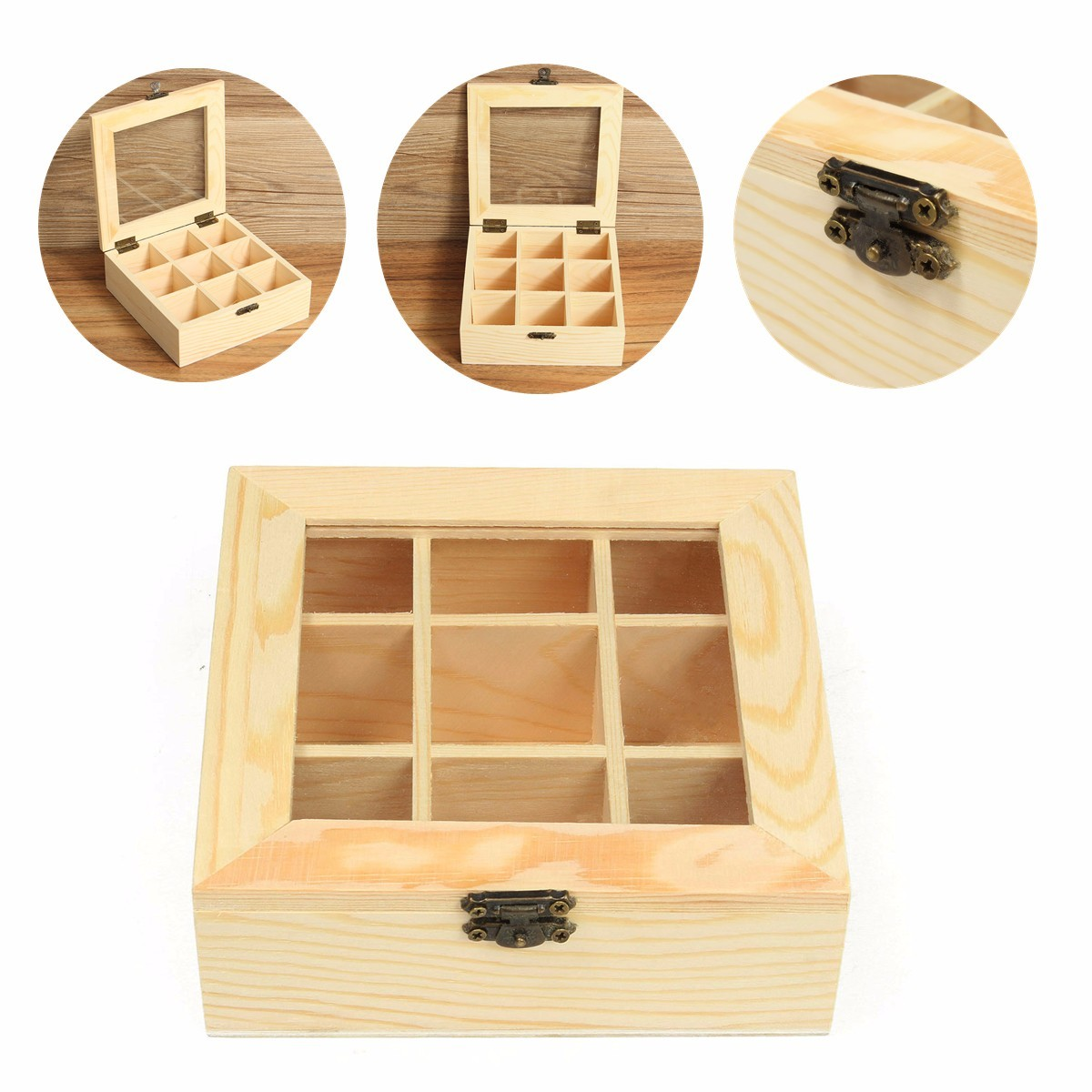 Philippines 9 Compartments Wooden Tea Bag Jewelry Organizer Chest