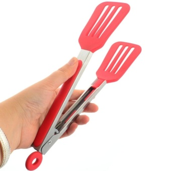 9 Inch Non-slip Silicone Food Tongs for Cooking BBQ Tongs - intl