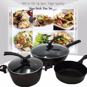 988 Ai Shi Qi 5pcs. High Quality Non-Stick Pan Set (Mocha)