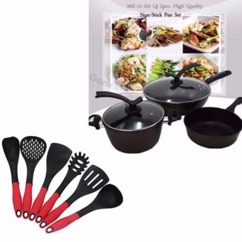 988 Ai Shi Qi 5pcs. High Quality Non-Stick Pan Set (Mocha) withKorea 6pcs Cooking Utensil Heat Resistant Ladle (Red/Black)
