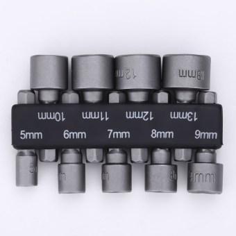 9pcs/set 6mm-14mm Hex Socket Sleeve Nozzles Nut Driver Set DrillBit Adapte - Intl - 3