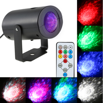9W Mini RGBW Water Wave Ripple Effect Stage Light Speed Adjustable 7 Colors Lamp with IR Remote Support Static Color Auto-run RGB Flash for KTV Party Club Disco Pub Bar Banquet School Show Home Entertainment - intl - 2