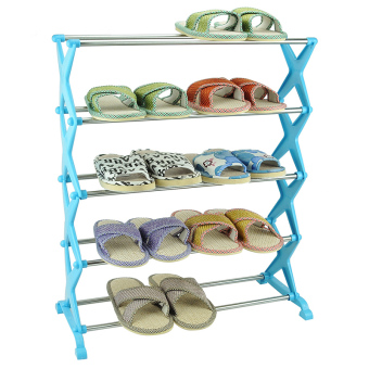 A Combination of Stainless Steel Five-Story Shoe Rack (Blue/Silver)