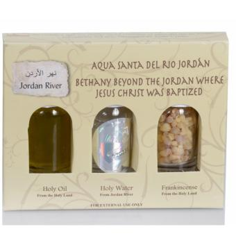 A Holy Land Gift Set contains Holy Water from Jordan River whereJesus Christ was Baptized and Blessed, Olive Oil and Incense fromthe Holy Land