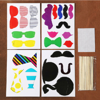 A Set of 22pcs DIY Glasses Moustache Red Lips Ties Hat On Sticks Wedding Birthday Party Halloween Photo Booth Props - picture 2