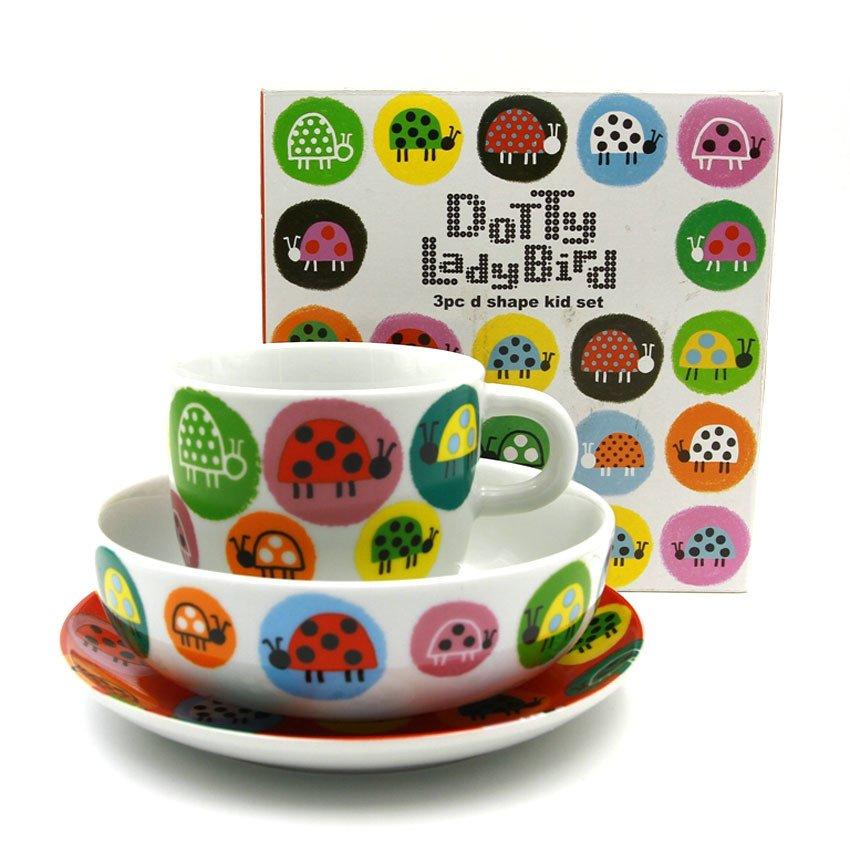 A1 Tabletop Dotty Lady Bird Breakfast Set (White/Orange)