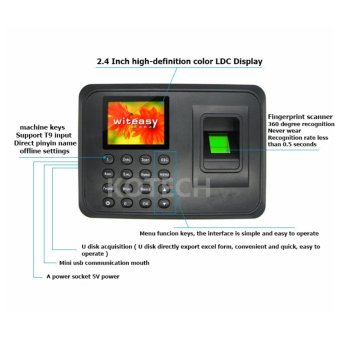 A5 2.4 inch TFT USB Biometric Fingerprint Time Clock RecorderAttendance