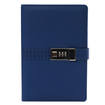 A5 PU Leather Cover Secret Notebook Travel Journal with Code Lock Secret Diary Deep Blue - Intl Price Philippines