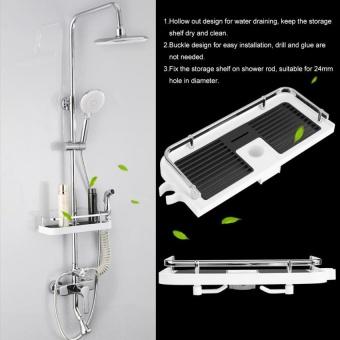 ABS Shower Rod Storage Shelf Organizer Tray Holder PracticalBathroom Accessory - intl - 3