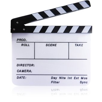 Acrylic Clapboard Dry Erase Director Film Movie Clapper Board Slate 1.7 x 9.8 inch with Color Sticks Blank White Strip