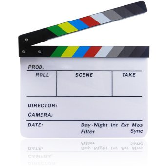 Acrylic Clapboard Dry Erase Director Film Movie Clapper Board Slate1.7 x 9.8 inch with Color Sticks Colorful Strip