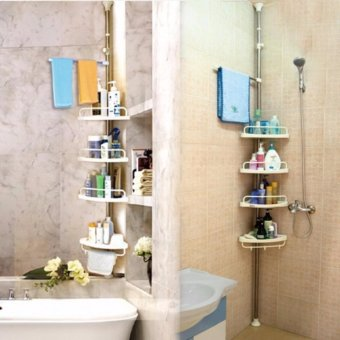 Adjustable Bathroom Corner Pole Caddy Shower Organizer