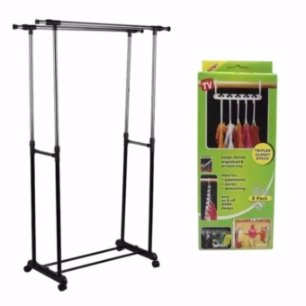 Adjustable Double Pole Clothes Rack with Amazing Wonder Hanger