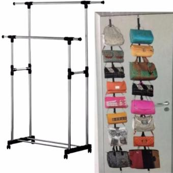 Adjustable Double Pole Clothes Rack With Lucky Adjustable Over DoorStraps Hanger Bag Clothes Coat Rack Organizer 16 Hooks