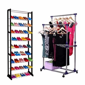 Adjustable Double Rail Garment Rack with Amazing Shoe Rack
