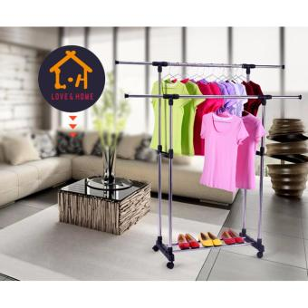 Adjustable Double Rail Garment Rack with Shoes Shelf on Wheels (Scalable)