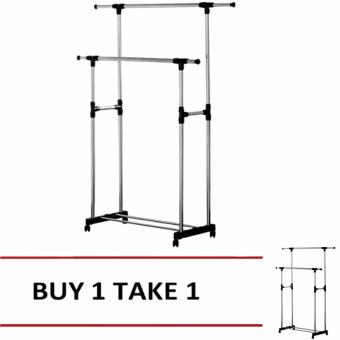 Adjustable Double Rail Garment Rack with Shoes Shelf on Wheels(Black) BUY1 TAKE1