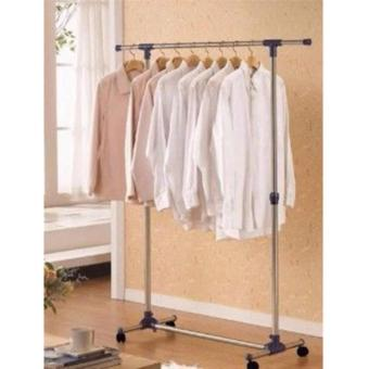 Adjustable Single-Pole Stainless Steel Clothes Rack (Silver)