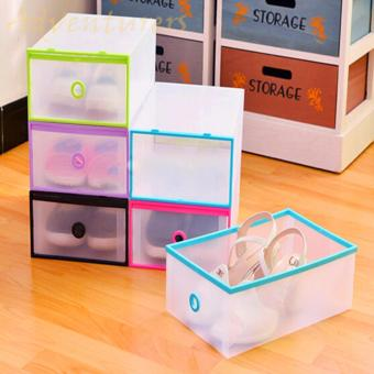 Adventurers Multi-use Foldable Plastic Transparent Drawer Case ShoeStorage Organizer Stackable Box Set of 6 (Multicolor)