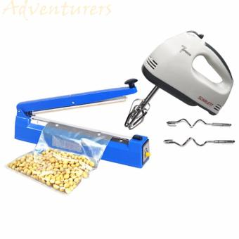 Adventurers PFS-100mm Heavy Duty Impulse Plastic Sealer (Blue) With Scarlett Electric Egg Mixer (White)