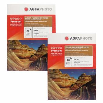 Agfa Inkjet Glossy Photo Paper 210GSM A4 Pack of 2