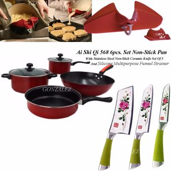 Ai Shi Qi 568 6pcs. Set Non-Stick Pan (Black/Red) With StainlessSteel Non Stick Ceramic Knife Set of 3 And Silicone MultipurposeFunnel Strainer (Red)