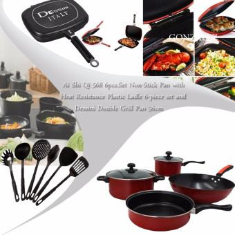 Ai Shi Qi 568 6pcs.Set Non-Stick Pan (Black/Red) with HeatResistance Plastic Ladle 6-piece set (Black) and Dessini DoubleGrill Pan 36cm (Black)