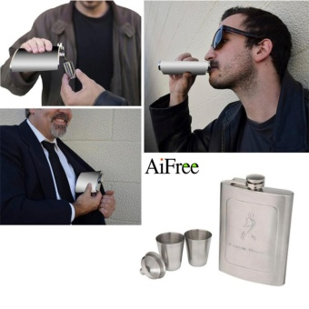AiFree 8oz Stainless steel Hip Flask Wine Bottle Drinkware Flagon Gift Box For Camping Outdoor With One Pour funnel and Two Wine Cup (Silver) - intl
