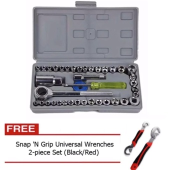 Aiwa Combination Socket Wrench 40-piece Set with Free Snap 'N GripUniversal Wrenches 2-piece Set (Black/Red)