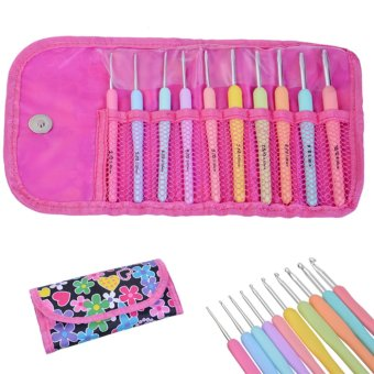 Allwin 10pcs Colorful TPR Soft Handle Aluminum Crochet Hooks Knitting Needles Set
