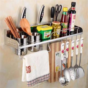 Aluminum Kitchen Storage Rack Pantry Pan Pot Organizer CookwareHolder Hooks Spice Dinnerware Shelf