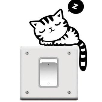 Amango Funny Cat Nap Light Switch Wall Sticker - Black