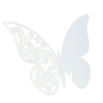 Amango Table Mark Wine Glass Butterfly Cards Set of 50 (White)