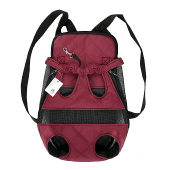 Anself Breathable Cute Canvas Pet Bag Puppy Dog Cat Carrier Head out Front Chest Backpack for Outdoor Travel Use M Size Canvas (Burgundy) - intl