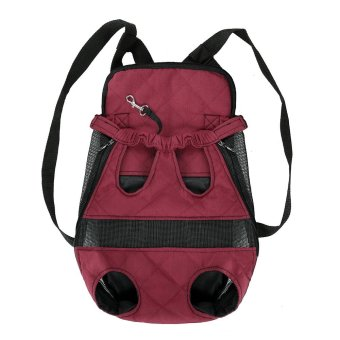 Anself Breathable Cute Canvas Pet Bag Puppy Dog Cat Carrier Head out Front Chest Backpack for Outdoor Travel Use M Size Canvas (Burgundy) - intl - 4