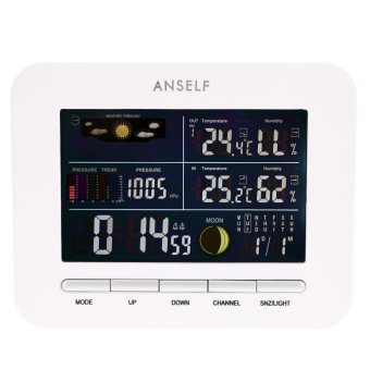 Anself Multi-functional 433MHz Wireless Weather Station Digital LCD Indoor Outdoor Thermometer Hygrometer Clock - INTL Price Philippines