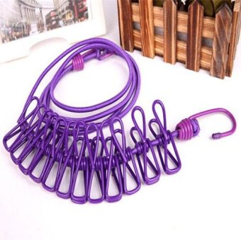 Anti-slide Japanese Style Flexible Laundry Rope With Hooks and 12Clips - intl