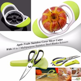 Apple Fruits Stainless Steel Corer Slicer Cutter (AppleGreen) with10 in 1 Multipurpose Professional-Grade Mighty Shears StainlessSteel Blades Scissors