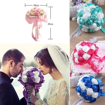 Artificial Silk Rose Wedding Flowers Bouquet Bridal Bouquets color:Blue - intl