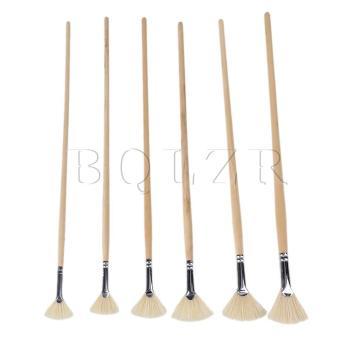 Artist Supplies Fan Bristle Oil Paint Brush Set of 6 Wood