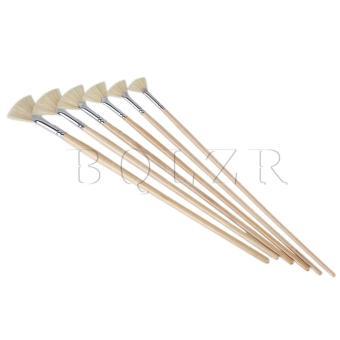 Artist Supplies Fan Bristle Oil Paint Brush Set of 6 Wood - picture 2