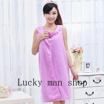 AS SEEN ON TV Can wear Super Absorbent Microfiber Bath Towel Purple