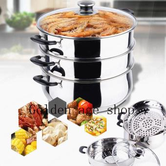As Seen On TV Malaysia COOKING STEAMING POT Steamed andDouble-boiled 3 layer 28cm STAINLESS STEEL STEAMER/ STOCK POT