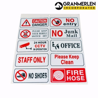 Assorted Signage Sticker label or Precaution Sign Sticker 10-in-1 Set