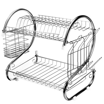 Autoleader Stainless Steel Dish Rack 2 Tier - Space Saver Dish Drainer Drying Holder Sliver