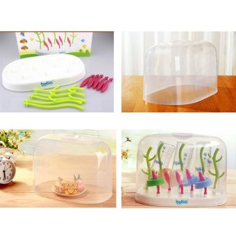 Baby Bottle Drying Rack Multi Function Tree Anti-bacterial Hanging Babies Accessories Drying Tray With Cover - intl - 4