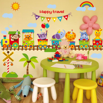 Baby cute children's room bedroom nursery wall adhesive paper animal train