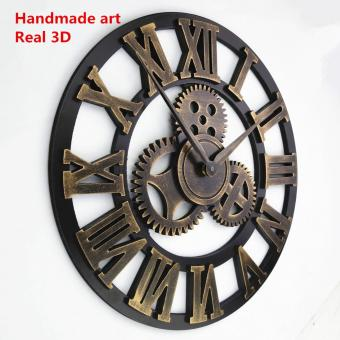Baffect decorative luxury big gear wooden vintage large wall clock- intl