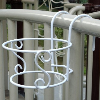 Balcony Plant Hanging Racks Round Flower Pot Railing Fence Garden Decor - intl