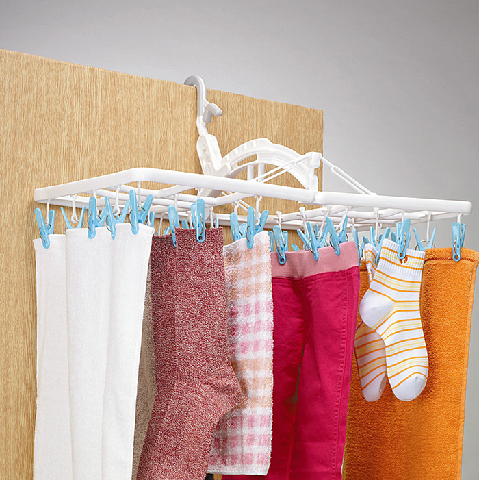 Baobao plastic clip hanger adhesive hook children's underwear rack drying rack